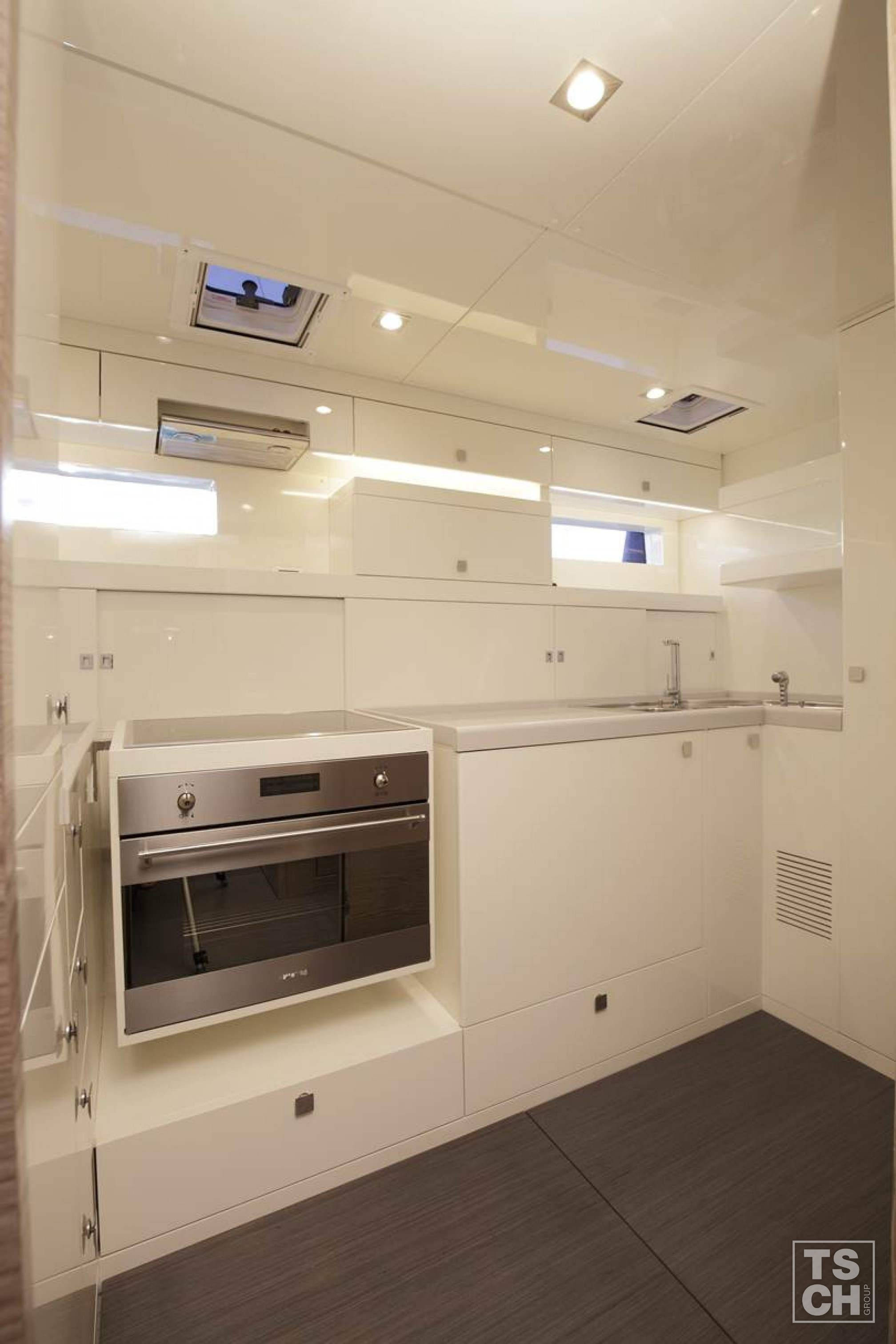Vismara V80 luxury sailboat charter kitchen