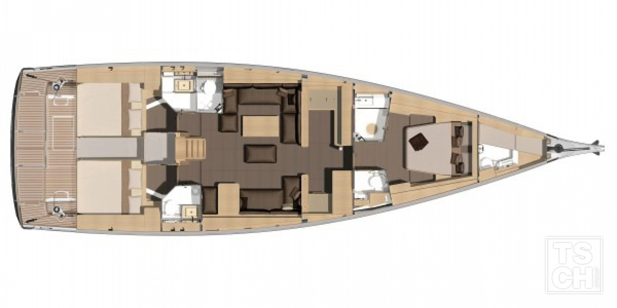 Dufour 560 GL 3+1 layout