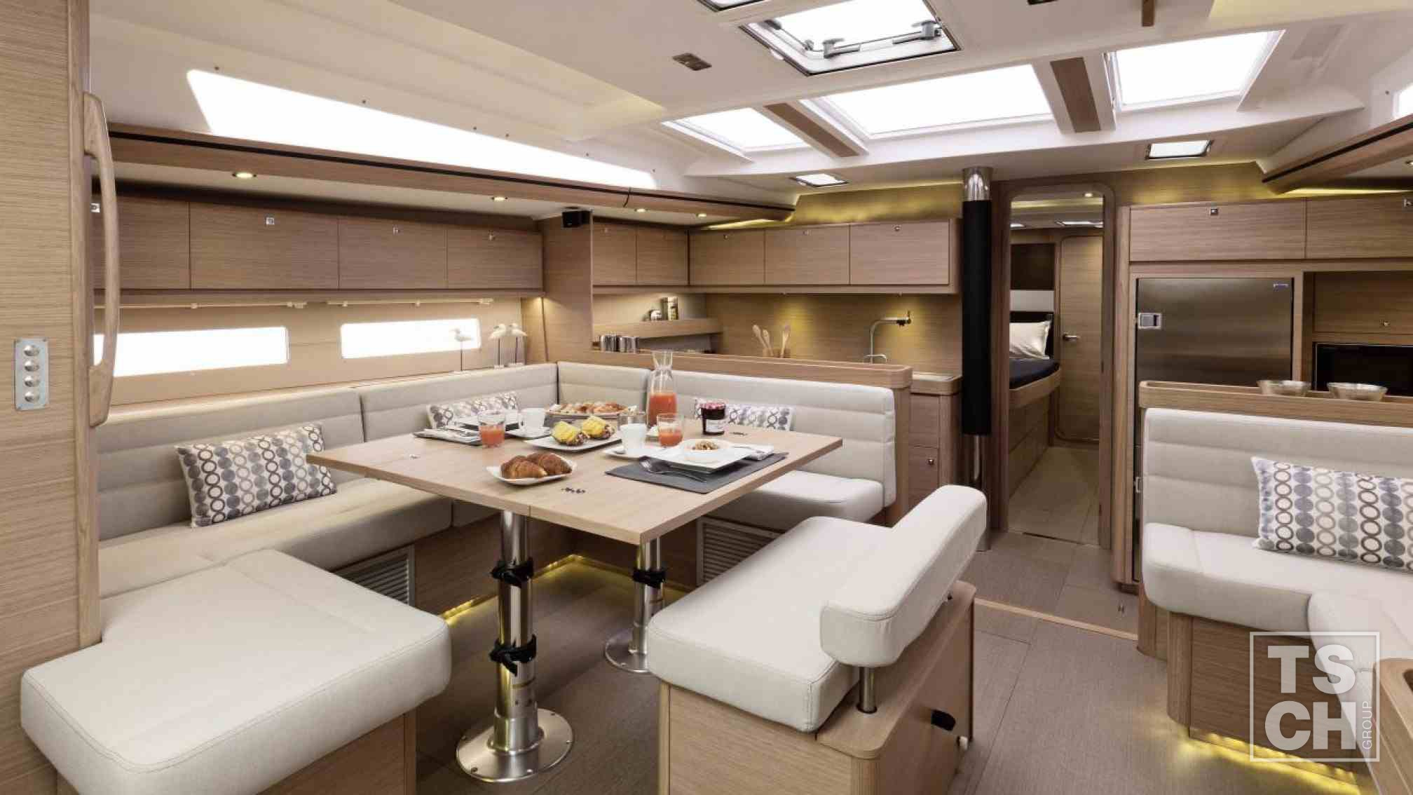 Dufour 560 GL charter sailboat, saloon