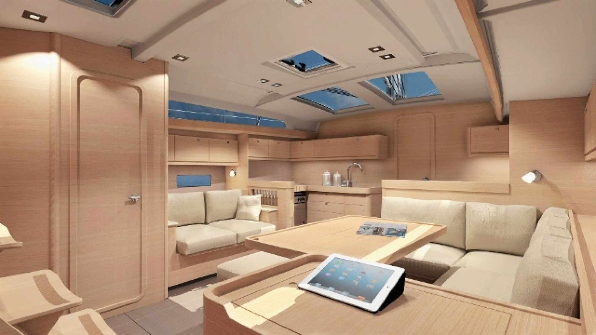 Dufour 460 GL charter sailboat, living